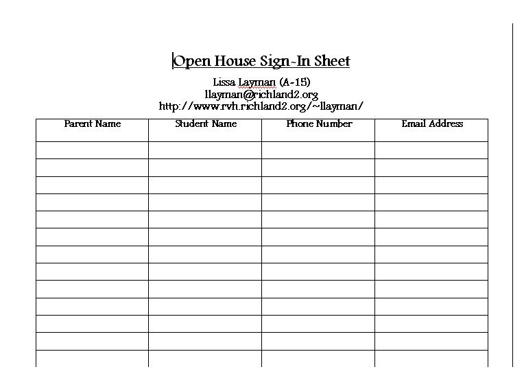 High School Open House Sign In Sheet Image Gallery - Hcpr